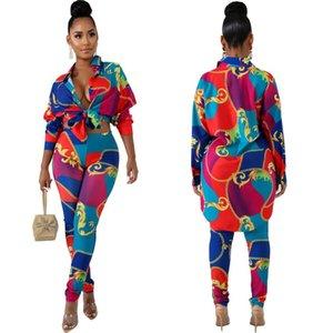 J1940 Горячая распродажа женской одежды в Европе и Америке Цифровая печать в двух частях рубашка с длинными рукавами + двусъемные штаны