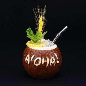 Hawaii Style 3D Coco Hollywood Bar TIKI Mug Handmade Ceramic Coconut Shell Cocktail Glass Cold-drink Shop Ice Cream Smoothie Cup