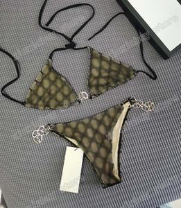 Italian Bikini Spring Summer new high fashion chain letters Lace Womens Swimwear tops high quality 02