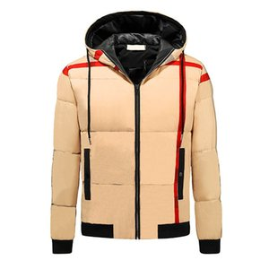 Mens Classic Down Coat Fashion Striped Pattern Thick Jackets Casual Boys Winter Windbreaker British Style Coats 2021