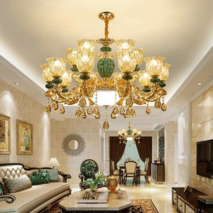 Европейская роскошная керамическая керамика K9 Crystal Chrystal Leed American Crystal Crystal Chansstiers Hears House Home Hapore Lighting 18 Лампы Диаметр 100см