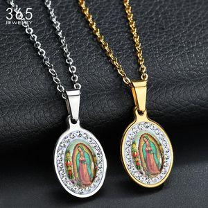 Yüksek Kaliteli Altın Renk Paslanmaz Çelik Bakire Mary Kolye Kolye Rhinestone Madonna Kadınlar için Hıristiyan Kadın Kolye