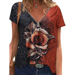 Women's Blouses & Shirts Blouseswomen Zipper V-neck Rose Print Short Sleeve Blouse Tops Harajuku Vintage Pullover Blousesshirts For Women