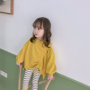 2021 Spring and Autumn Girls' Korean Drawstring Loose Edition Children's Cotton Long Sleeve Sweater