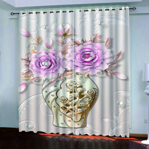 Embossed flowers 3D Customized Printing Curtain 2021 Blackout Window Drapes For Bedroom Door Kitchen Living Room