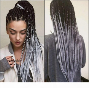 Hot Fashion Ombre grey Braid Wig Synthetic Lace Front Wigs with Baby Hair Heat Resistant Fiber Braided Box Braids Wigs for Black Women