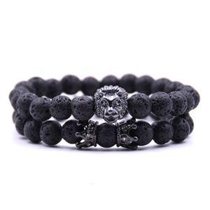 Buddha 2pcs set Charm 2019 Bead Paracord Natural Stone Lion Bracelet Men Pulseras Hombre Bracciali Uomo Mens Bracelets
