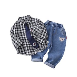 Spring Boys Suits Casual Infant Outfits Long Sleeve Shirt+Jeans Pants 2Pcs Set Baby Clothes Toddler Wear 0-4Y SM002