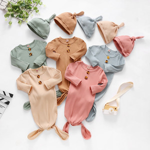 Newborn Baby Swaddle Hat 2 pcs Wrap INS Toddler Cotton Sleeping Sacks Photography Prop Knitted Infant Sleeping Bag M3305
