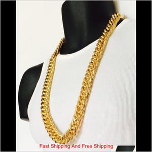 Mens Miami Cuban Link Curb Chain 14K Real Yellow Solid Gold Gf Hip Hop 11Mm Thick Chain Jayz Epacket Shipping Sqcfjww Yoatl Ufgf7