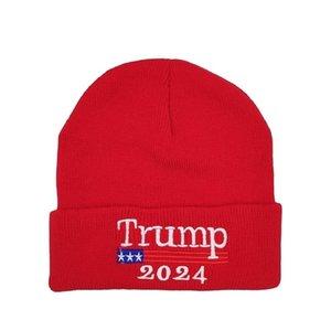 2024 트럼프 모자 대통령 선거 봄 니트 양모 모자 성인 트럼프 지지자 니트 모자 겨울 비니 해골 모자 힙합