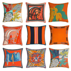 45*45cm Orange Series Cushion Covers Horses Flowers Print Pillow Case Cover for Home Chair Sofa Decoration Square Pillowcases