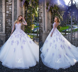Charming Plus Size A Line Wedding Dresses Sheer Neck Long Sleeves Lavender Lace Appliqued Illusion Back Beach Wedding Dress Bridal Gowns