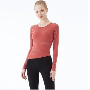 Lulu Yoga dress net ribbon bra Yoga Dress Top Women's sports long sleeve quick drying show thin cw001