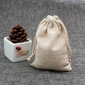 Jewelry Pouches, Bags S 50Pcs Set Fine Texture Gift Bag Eco-friendly Imitation Linen Handmade Drawstring Packing Pouch For Home
