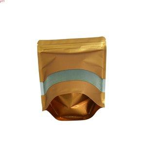 Sac d'emballage en aluminium en aluminium en relief 22 * 30cm DOYPACT SUPPORT DE SUPPORT DE BLIP GOLD BIPS 50PCS / LOT AVEC FENÊTRE CLEAR MYLAR ZIPLOCK POUCHESHIPHILE