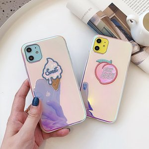 Luxury Laser Ice-cream Peach Glitter Phone Case For iphone 12 Pro MAX 11Pro XS MAX XR X 6 7 8 Plus Love heart Blu-ray Soft Cover