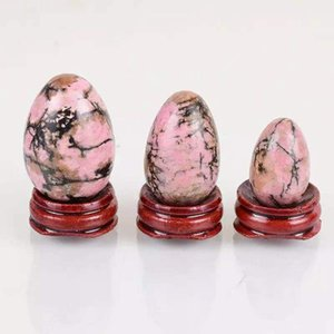 3 STÜCK Set Rhodolit Yoni Eier gebohrt oder ungestalten Massage Ei Set mit hölzernen heilenden Kugeln Kegel Übung Beckenboden Naturstein
