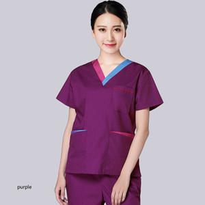 women scrub top cotton short sleeve uniforms color blocking v neck nursing workwear scrub shirt with side vent