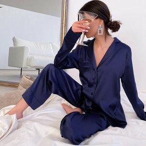 Hechan Blue Women Pajamas отловка воротника кармана с длинным рукавом повседневные брюки 2 шт. Установить сочетание женское домашнее хозяйство наборы ночного белья l0304