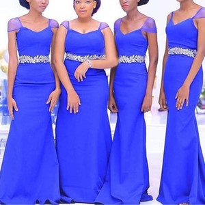 Royal Blue Bridesmaid Dresses Mermaid Chiffon 2021 with Straps Lace Applique Plus Size Maid of Honor Gown Beach Wedding Party Gown vestido