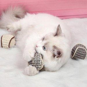 Кошачьи игрушки кошек забавные интерактивные жевать с грызущими домашним животным упражнения игрушка сизальные шарики когти шлифование дразнить мяч для