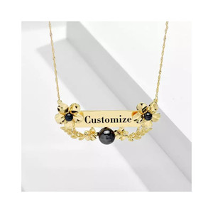 Hot Sales Custom Name Pendant Flowers Necklace Jewelry For Women Personalize Customize Nameplate Girlfriend Birthday Gift