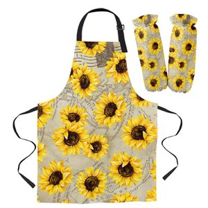 Aprons Sunflower Hand Drawn Map Kitchen For Women Bibs Household Cleaning Pinafore Home Cooking Apron