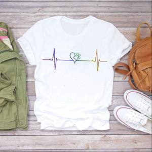 Women 90s Cartoon Dog Love Heartbeat Summer Fall Clothes Lady T shirts Top Womens T Shirt Ladies Graphic Female Tee T Shirt