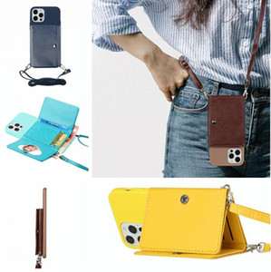 Crossbody Lanyard Leather Soft TPU Case For Iphone 12 Mini 11 Pro Max X XS XR SE2 7 Plus 8 6 6S Card Slot Neck Strap Stand Phone Back Cover