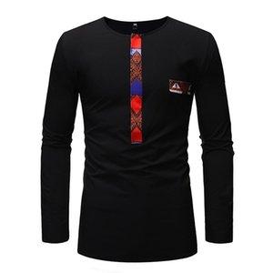 Baibazin New Africano Dashiki Homem Manga Longa T-shirt Fashion Printt África Homens Roupas Plus Size