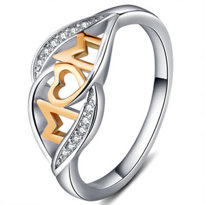 Hot Sale Women Couple Ring Jewelry Silver Gold Rose Gold Plated Love Mom Rings mix size free