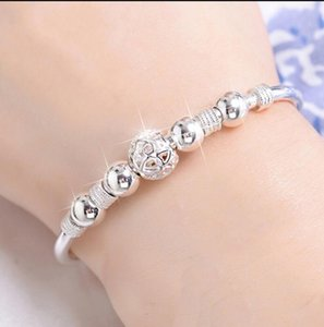 Transfer Bead Adjustable Bangle Bracelets for Women Delicate Ball Charm Bracelet Jewelry Gifts ps0203