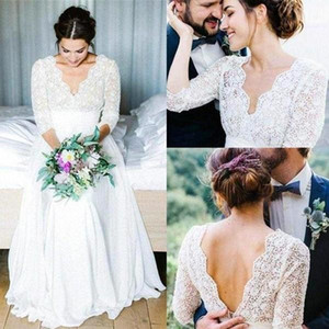 2021 Country Wedding Dresses with 3 4 Long Sleeves Lace Scalloped V Neck Back Chiffon Floor Length Beach Wedding Bridal Gown vestidos