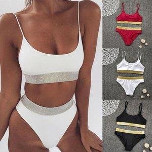 salsexy hauteur sur la queue mis à lacets pailletten badmode femmes bikini 2 pc bandage brapsilien badrsuit 3fs