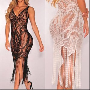 2021 Hot Brand Women Bandage Bodycon Hollow out Lace Crochet Bathing Suit Bikini Swimwear Cover Up Beach Dress Sundress