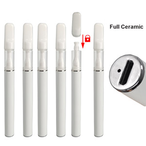 Full Ceramic Vape Pen Disposable 0.5ml Carts Snap on Tips Rechargeable 290mAh Battery Empty Oil Atomizer Vaporizer Disposable E-cigarettes