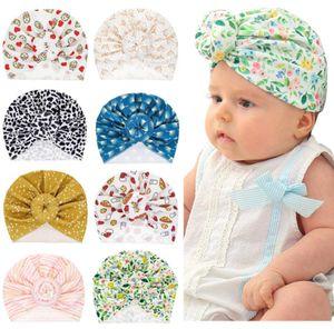 Ins Infant Toddler Baby Donut Knot Indiano Turban Cap Bambini Bambini Cappuccio Cappuccio Bambino Cappello floreale Solido Soft Cotton Bambino Neonato Cappellini per abbigliamento per capelli 8 colori