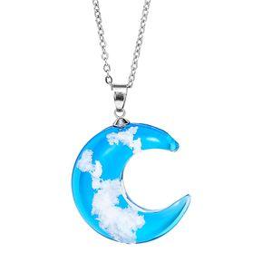 Collana di cristallo collana luna pendente blu cielo blu bianco nuvola trasparente resina luna pendenti collane regalo di gioielli moda donna
