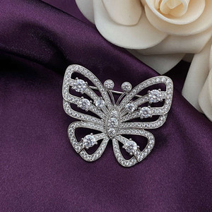 HBP new S925 Pure Silver Butterfly Brooch fashion luxury hand inlaid white full high carbon diamond jewelry