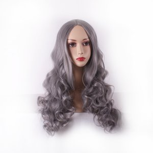 European and American Wig Female Cosplay Anime Lolita Granny Grey Medium Long Curly Hair Factory Wholesale