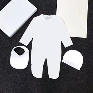 Baby Boys Girls Brand Designer Romper Long Sleeve Cotton Jumpsuit + Hat + Bib 3pcs set Toddler Infant Romper Climbing Clothes