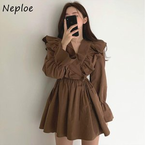 Neuploe V-Col Cross Troupes Crowstring Slim Taille Robes Vintage Chic Flare Sleeve Mini Robe Solid Couleur A-Line Vestidos