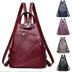 Fashion Women Leather Backpacks Female Anti-theft Shoulder Bag Sac A Dos Ladies Bagpack Vintage School Bags Girls Travel Bag