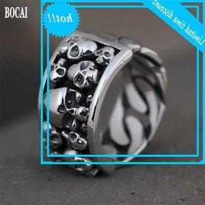 Bocai Real S925 Feminino Moda Prata Chain Design Anel de Crânio para homens e mulheres