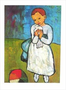 Pablo Picasso Niño con Decoración para el hogar Dove Pintado a mano HD Pintura al óleo sobre la pintura al óleo sobre la pared del lienzo Imagen de la lona 210223