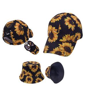 Sunflower Ponytail Hat Bucket Hat Criss Cross Printed Ponytail Baseball Cap Newest Street Outdoor Sports Tide Hat LLA354