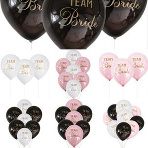 12 шт. / Лот 10 дюймов Team Bride Latex Balloons для свадебного участия Поставки Bachelorette Party Air Balls Bridal Shower Dece L0220