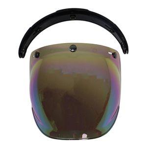 Riding UV Protection 3 Snap With Bracket Scratch Resistant Flip Up Dustproof Motorcycle Helmet Vintage Universal Bubble Visor