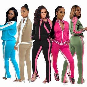 Casual Women Two Piece Set Crop Top Coat +Pants With Pocket Color Patchwork Sportwear Herm Split Out Shoulder Hollow Out Suit